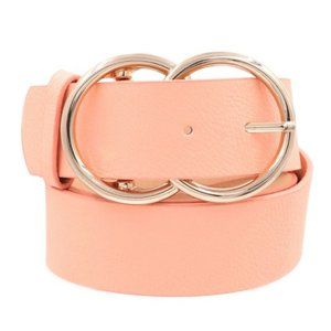 Faux leather double metal ring pink buckle belt
